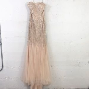 Terani Couture Nude Beaded Mermaid Strapless Prom